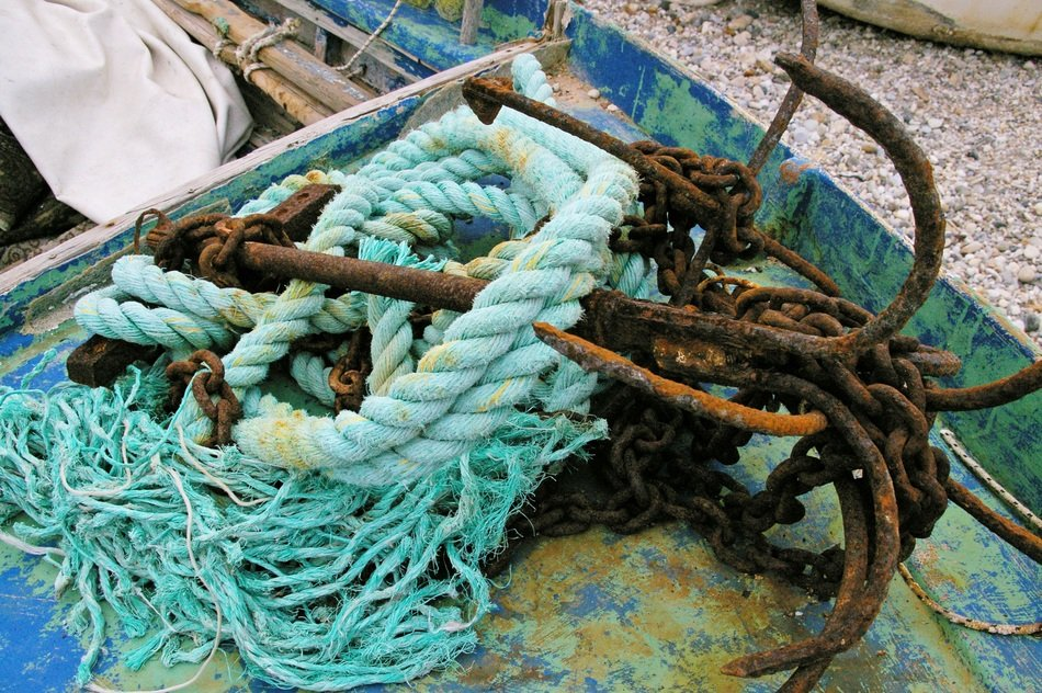 Anchor and ropes on a fishing boat