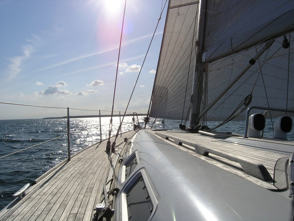 Sailing yacht in summer