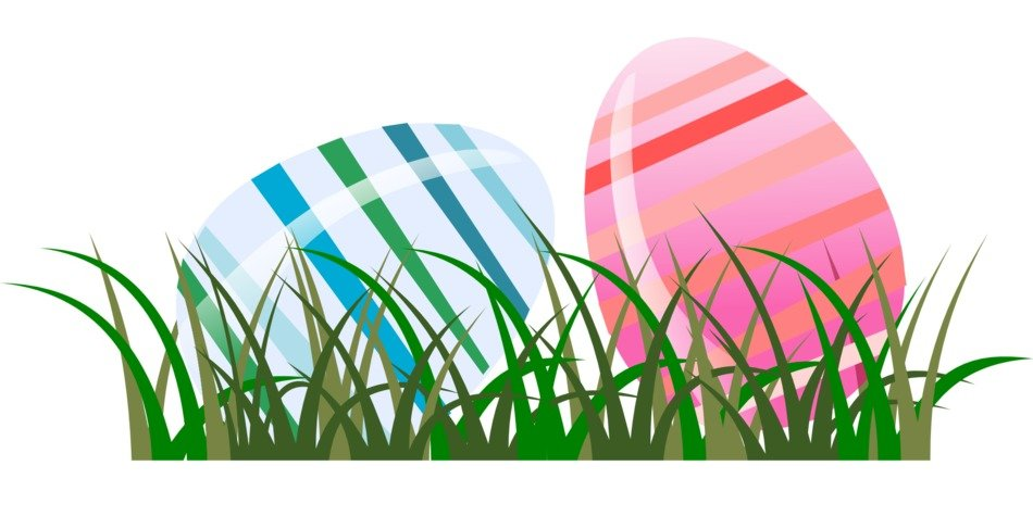 painted two easter eggs on the grass