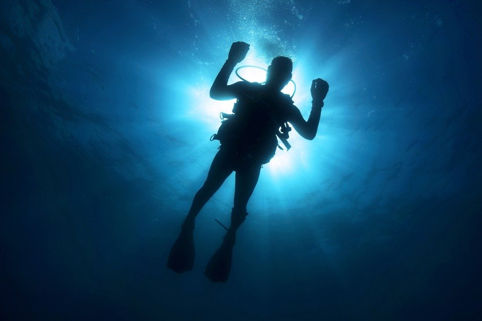 Silhouette of the diver in the water
