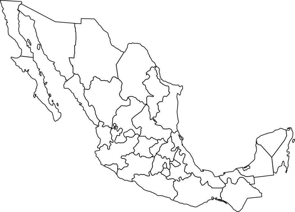 Mexico on the map clipart