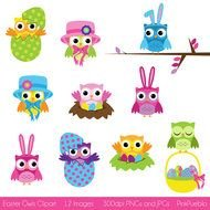 Colorful Easter owls clipart