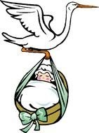 drawing of a stork delivering a baby