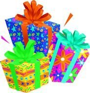 Beautiful colorful gifts clipart