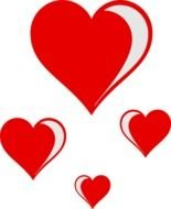 Grey and red hearts clipart