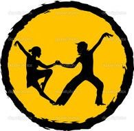 silhouette of a couple dancing in a yellow circle