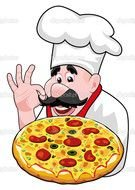 drawing of a cook with pizza in hands