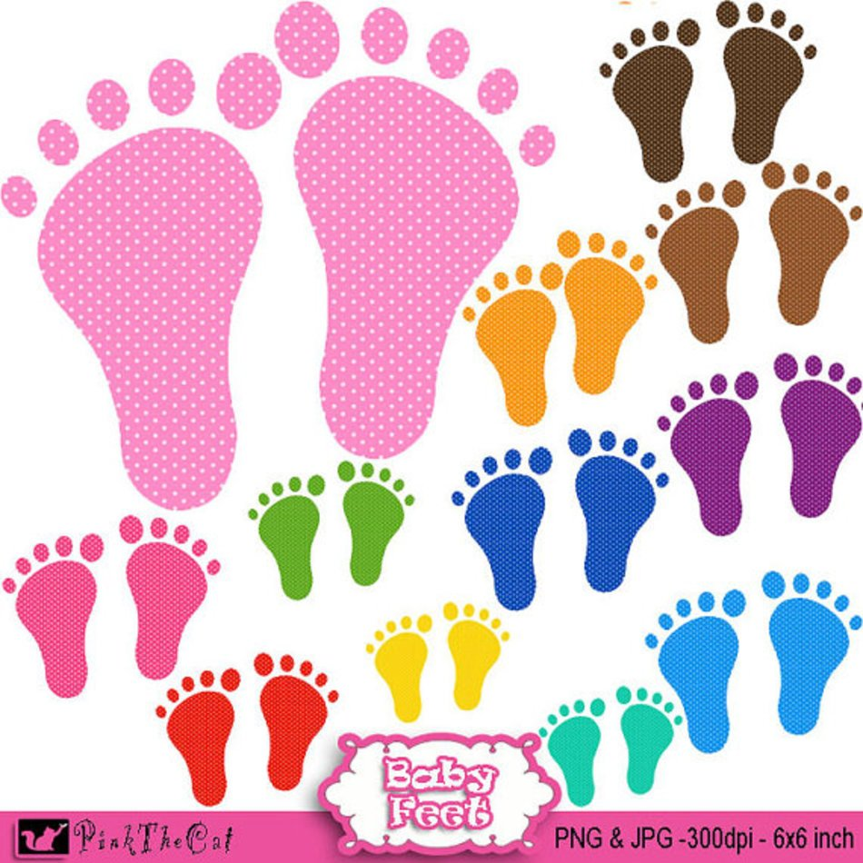 colorful baby footprints