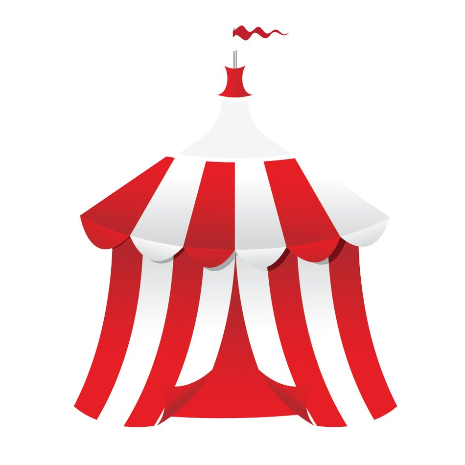 isolated red and white circus tent