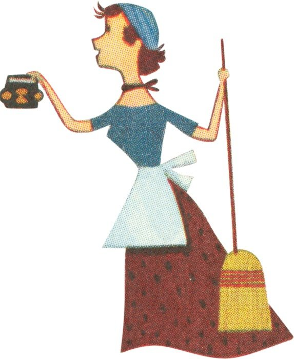 housemaid with a broom
