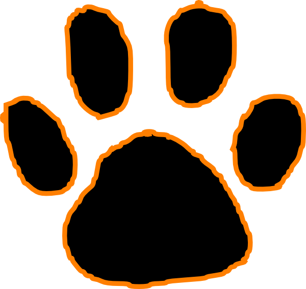 Black Tiger Paw Print With Orange Outline Vector Clip