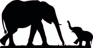 Baby Elephant Silhouette drawing