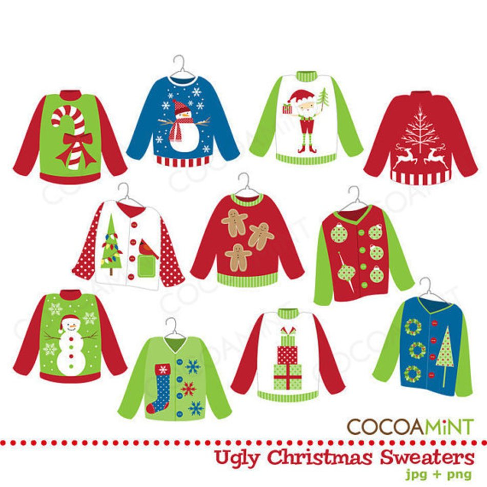 clip art with Christmas sweaters