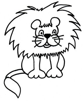 drawn lion on the white background