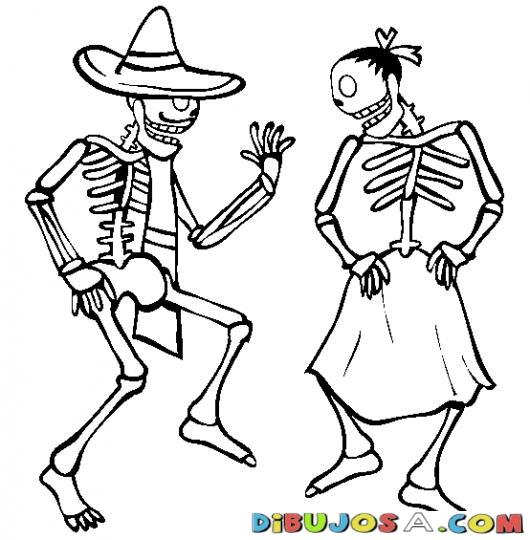 Colorear Dibujos De Cholo Pareja Calaveras Mexicanas Bailando free