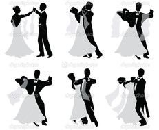 Silhouette of a dancing couple of ballroom dancing