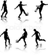 Clipart of Football players Silhouettes