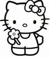 Hello kitty as a black and white picture for clipart