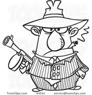 Cartoon Black And White Line Drawing Of A Gangster Holding Gun