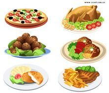 Food Pizza Chicken Meatball Steak Fries Dishes clipart