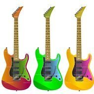 clipart of the colorful Electric Guitars