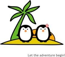 Two Penguins At Beach Clkercom Vector Online clipart