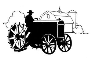 Black and white drawing of the old tractor