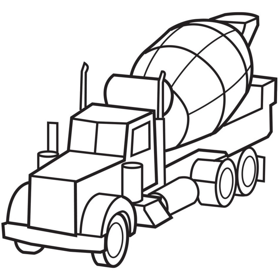 Black And White Drawing Of A Truck With A Concrete Mixer