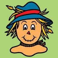 Clipart of cute scarecrow