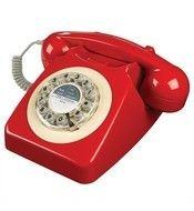 red vintage phone device