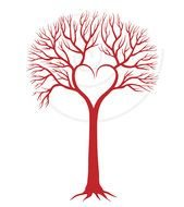 Red Love Tree With Heart Wedding Invitation Engagement Valentines