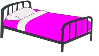 pink bedding on the bed