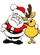 drawing of Santa Claus with a deer