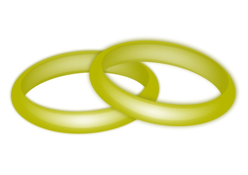 two wedding rings on the white background