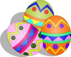three Easter eggs, drawing