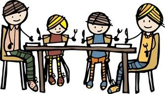 Family Dinner At Table clipart