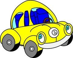 drawn yellow VW bug