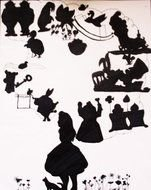 silhouettes of characters from Alice In Wonderland