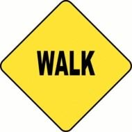 walk on a yellow sign