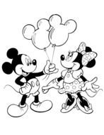black and white image of Mickey Mouse and Minnie