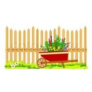 Clipart of wooden fence in a garden