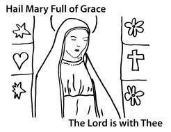 Mother Mary Coloring Page drawing
