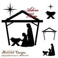 Christmas Nativity Silhouette drawing