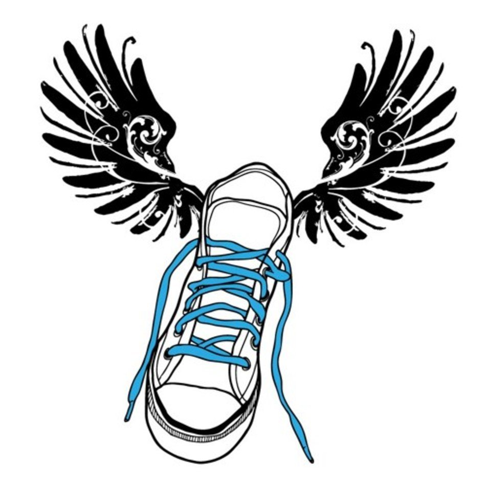 Flying Track Shoe Vinyl Wall Decal free