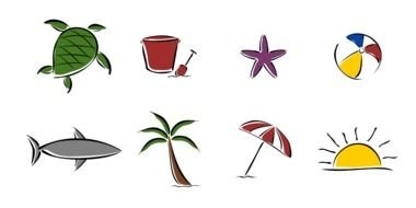 Beach, set of colorful icons