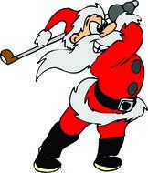clipart of the santa is playing golf