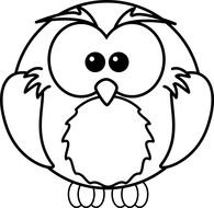 coloring page with an owl