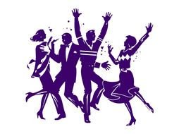 blue silhouettes of dancing people as a picture for clipart