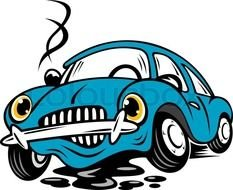 clipart of the blue Broken Car