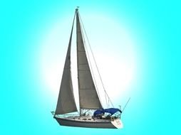 clipart of the sailing yacht